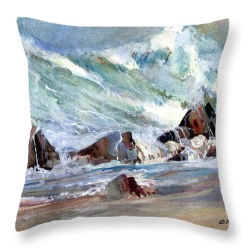 Monster Waves Throw Pillow