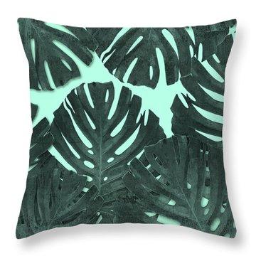 Monstera Leaf Pattern - Tropical Leaf - Teal - Tropical, Botanical - Modern, Minimal Decor Throw Pillow