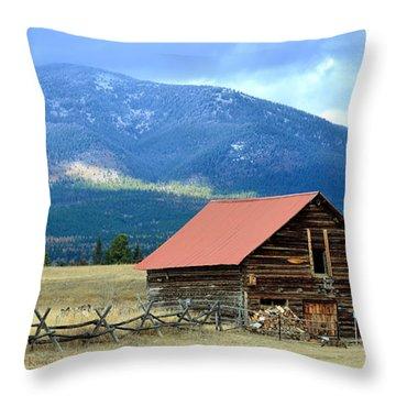 Montana Ranch Building Throw Pillow