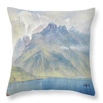 Monte Civetta From Lake Alleghe, Ital Throw Pillow