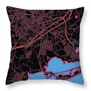 Montpellier City Map Throw Pillow