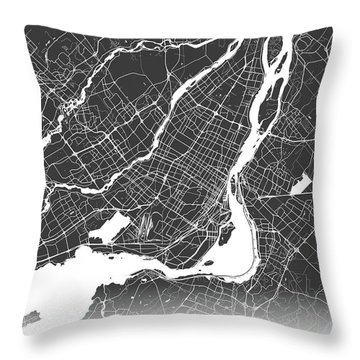 Montreal Map Black And White Throw Pillow