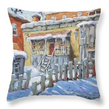 Montreal Winter Shed By Richard Pranke Throw Pillow