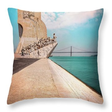 Monument To The Discoveries Belem Lisbon Portugal Throw Pillow
