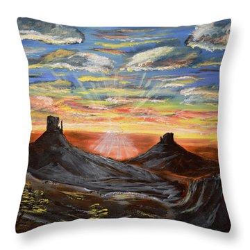 Monument Valley And Kokopelli Throw Pillow