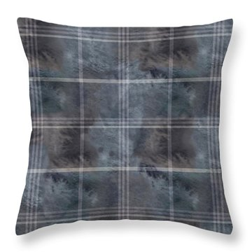 Moody Blue Plaid Throw Pillow