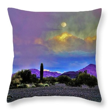 Moon At Sunset In The Desert Throw Pillow