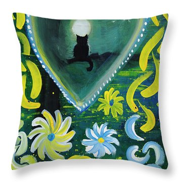 Throw Pillow featuring the painting Moon Cat Ornament by Dobrotsvet Art