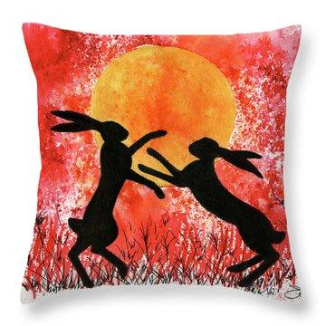 Moon Hares Throw Pillow