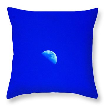 Moon In A Daytime Sky Throw Pillow