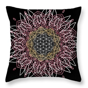 Throw Pillow featuring the digital art Moon Mandala by Bee-Bee Deigner