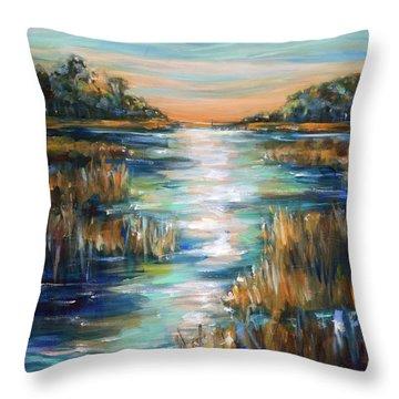 Moon Over Waterway Throw Pillow