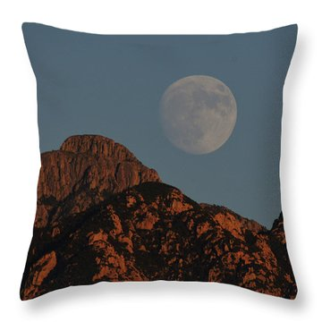 Moon Rise Over Mount Wrightson  Throw Pillow