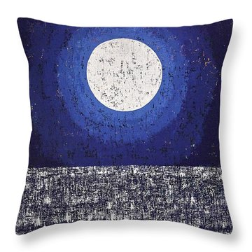 Moonbathing Original Painting Throw Pillow