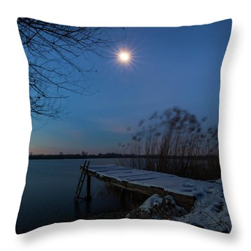 Moonlight Over The Lake Throw Pillow