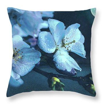 Moonlit Night In The Blooming Garden Throw Pillow
