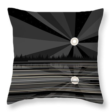 Moonrise In Black And White Throw Pillow