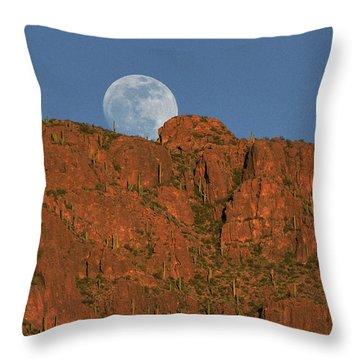 Moonrise Over The Tucson Mountains Throw Pillow