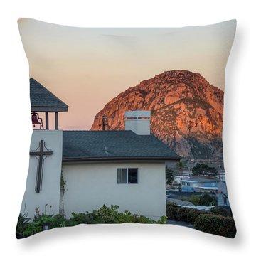 Moonset Above Morro Rock Throw Pillow