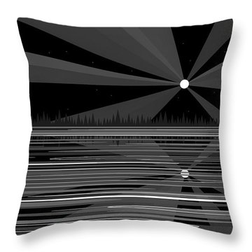 Moonshine In Black And White Throw Pillow