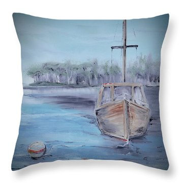 Moored Sailboat Throw Pillow