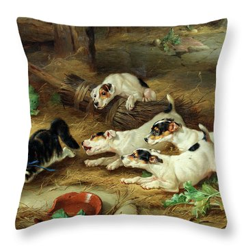 More Frightened Than Hurt, 19th Century Throw Pillow