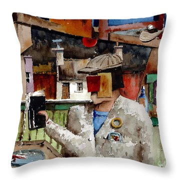 Throw Pillow featuring the painting More Thro The Window On The World by Val Byrne