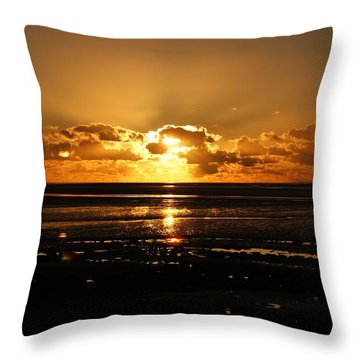 Morecambe Bay Sunset. Throw Pillow