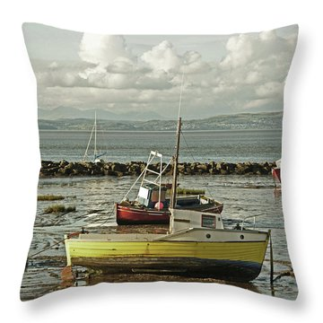 Morecambe. Boats On The Shore. Throw Pillow