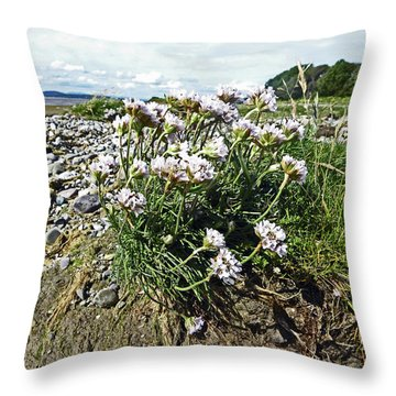 Morecambe. Hest Bank. Sea Thrift. Throw Pillow