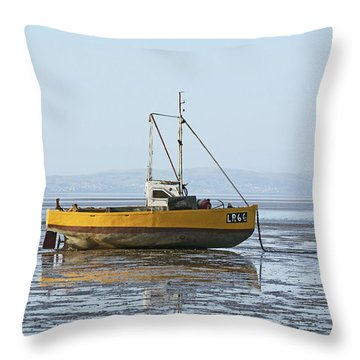 Morecambe. Yellow Fishing Boat. Throw Pillow