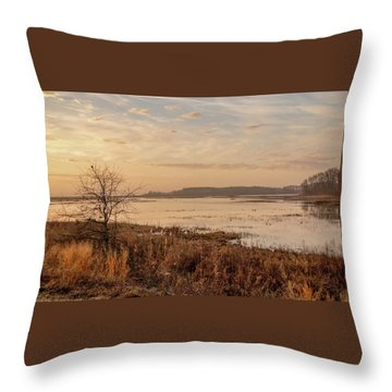 Throw Pillow featuring the photograph Morning At Boombay Hook by Kristia Adams