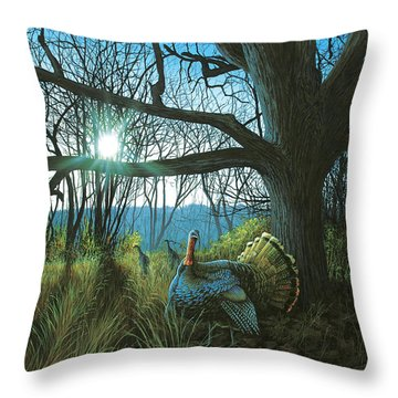 Morning Chat - Turkey Throw Pillow