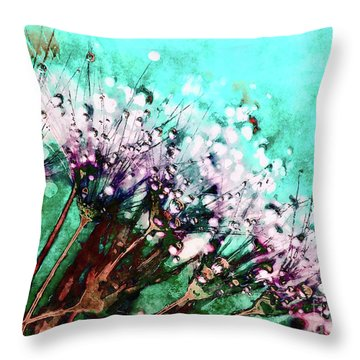 Morning Dew On Dandelions Throw Pillow
