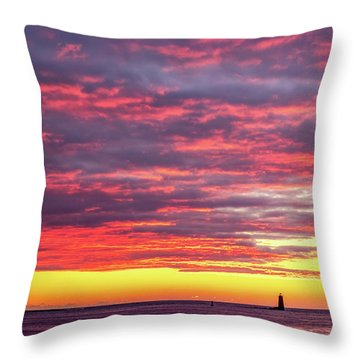 Morning Fire Over Whaleback Light Throw Pillow