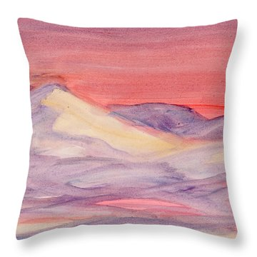 Throw Pillow featuring the painting Morning Light In The Mountains by Dobrotsvet Art