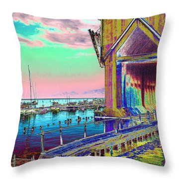 Morning Pink Marquette Ore Dock Throw Pillow