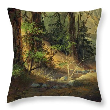 Morning Redwoods Throw Pillow
