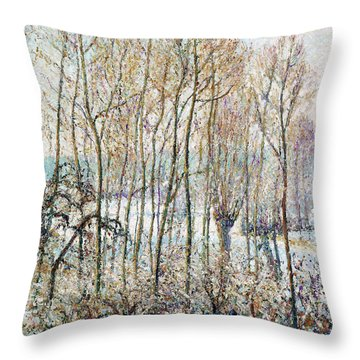 Morning Sunlight On The Snow, Eragny-sur-epte - Digital Remastered Edition Throw Pillow