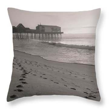 Throw Pillow featuring the photograph Morning Walk On Old Orchard Beach by Dan Sproul