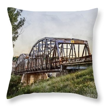 Throw Pillow featuring the photograph Morrin Bridge by Brad Allen Fine Art