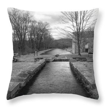 Morris Canal And Lock - Waterloo Village Throw Pillow