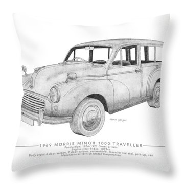Morris Minor 1000 Traveller Throw Pillow