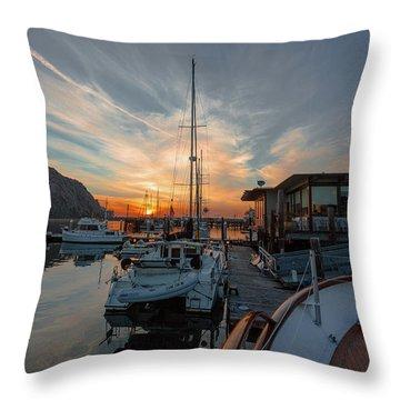 Morro Bay Sunset Throw Pillow