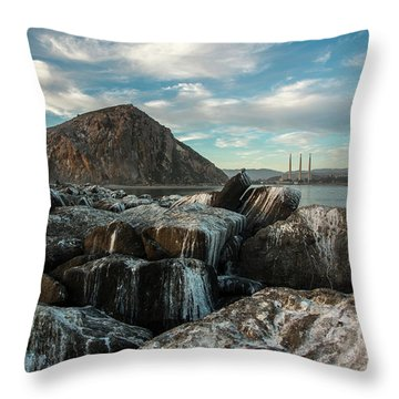 Morro Rock Breakwater Throw Pillow