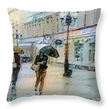 Moscow In The Rain Throw Pillow