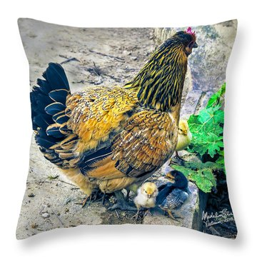 Mother Hen And Brood Throw Pillow