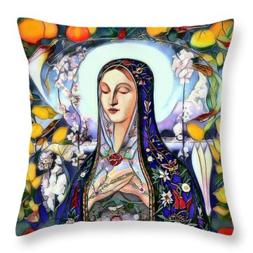 Throw Pillow featuring the digital art Mother Mary by Pennie McCracken