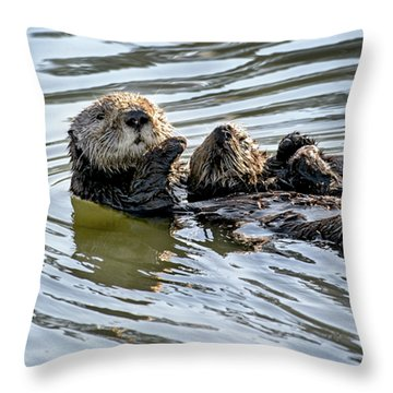 Mother Sea Otter Relaxing With Baby Throw Pillow