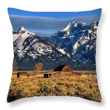 Moulton Barn Grand Tetons Throw Pillow